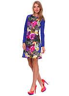 """Модное женское платье с цветочным принтом. """"Виола синего цвета"""""""