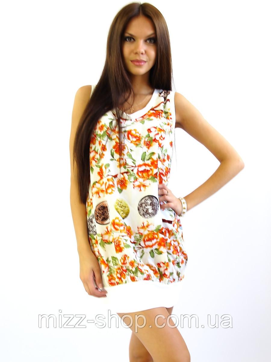 Летнее платье-туника Сакура молочная.