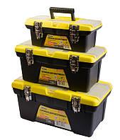 """Ящики для инструмента MASTERTOOL комплект 3 шт 13""""+16""""+19"""" съемные органайзеры металлические замки"""