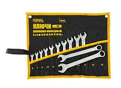 Ключи рожково-накидные MASTERTOOL набор 12 шт (6/7/8/10-15/17/19/22 мм) PROF DIN3113 пожизненная гарантия
