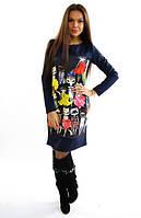 Платье Котики синее.