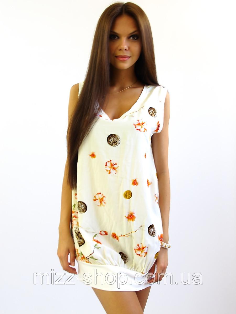 Летнее платье-туника Монетка молочная.