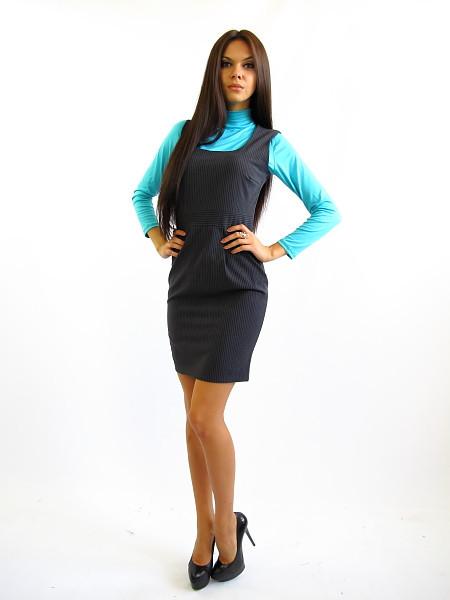 Женский сарафан офисного стиля. Ребекка в полоску.