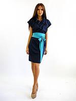 Модное трикотажное платье-сарафан. Доминика синего цвета.