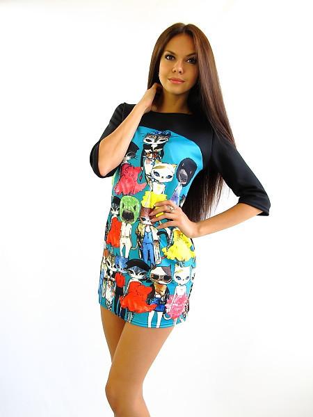 Стильное молодежное платье. Платье Кошечка бирюз.