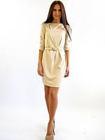 Стильное трикотажное короткое платье. Агата беж.