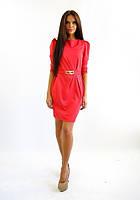 Стильное трикотажное платье. Платье Агата коралл.