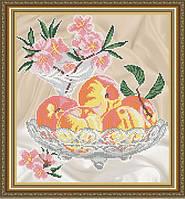 """Рисунок на ткани для вышивания бисером """"Персики в хрустале"""""""