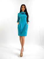 Полубатальное женское платье.  Стелла голубой.