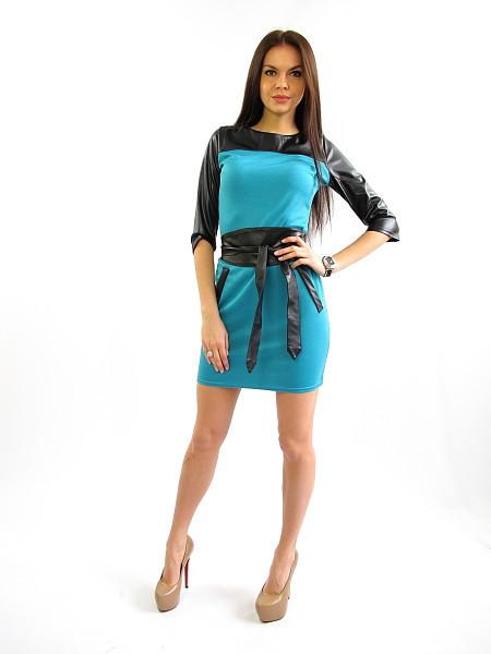 Дерзкое платье с кожзамом.  Джина голубой