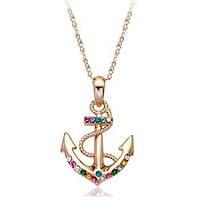 Кулон ЯКОРЬ ювелирная бижутерия золото 18К декор кристаллы Swarovski