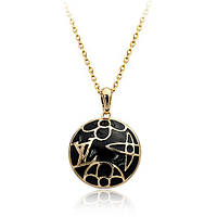 Кулон LOUIS VUITTON ювелирная бижутерия золото 18к декор черная эмаль