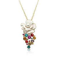 Кулон ЖЕМЧУЖНАЯ РОЗА ювелирная бижутерия золото 18К декор кристаллы Swarovski