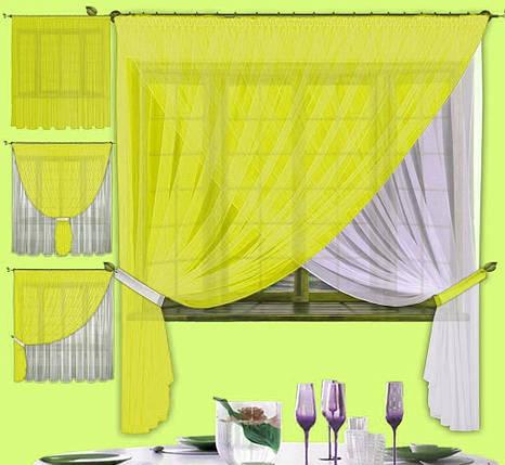 Комплект штор Лиана Желтая, кухонные, фото 2