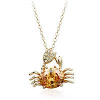 Кулон КРАБ ювелирная бижутерия золото 18К декор кристаллы Swarovski