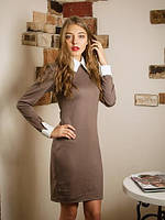 Офисное женское платье с воротником и манжетами.  Мариам бежевое.