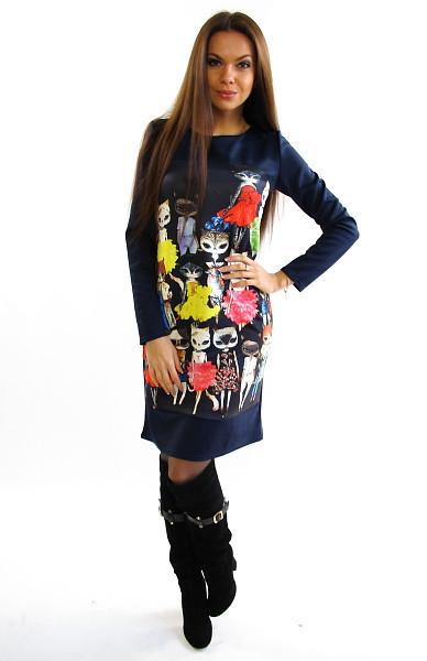 Стильное молодежное платье. Платье Котики.