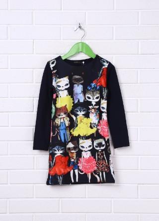 Оригинальное детское платье. Синий Котёнок