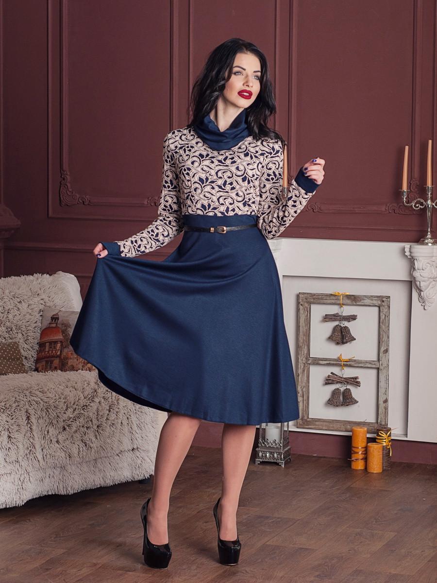 Женственное красивое платье. Шарлиз беж- синий