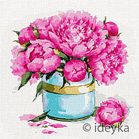"""Набір картина для розпису за номерами ТМ Ідейка, Квіти """"Краса півоній"""" 40х40 см"""