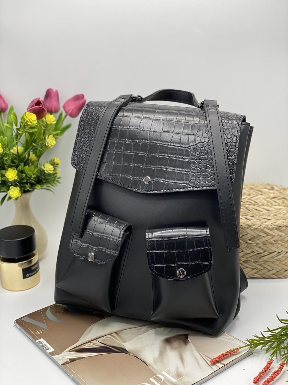 Рюкзак женский городской с накладными карманами 26*32 см искусственная кожа под крокодила Nata