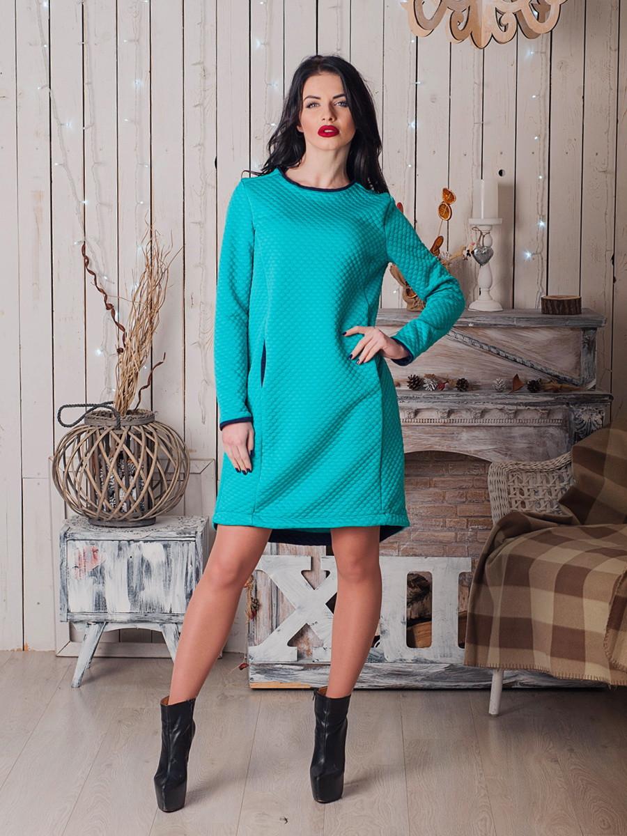 Стильное теплое платье  Хайди бирюза-синий
