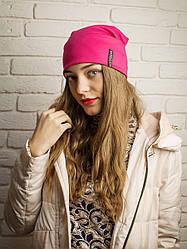 Молодежная шапочка трикотажная малиновая