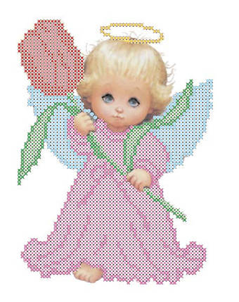 """Рисунок на ткани для вышивания бисером """"Ангелок с тюльпаном"""", фото 2"""