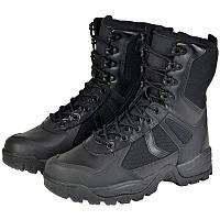 Тактические кожаные ботинки Mil-tec PATROL шнурки+молния черные