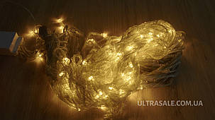 Гірлянда ШТОРА ВОДОСПАД,прозорий шнур,3*1.5 м,240 Led,золото,з перехідником, фото 2