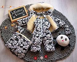 Детский зимний комбинезон-трансформер тройка черно-белый с пандами от 0 до 2 лет