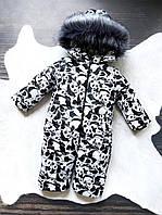 """Детский зимний цельный комбинезон с капюшоном от 1 года """"Панды"""" (размеры 80,86,92 и 98 см)"""