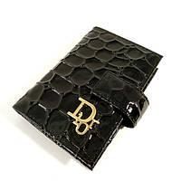 Визитница кожаная женская Dior черная лаковая