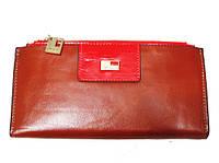 Женский кошелек JCCS 3107 коричневый с красным из натуральной кожи со съемной кредитницей внутри красный