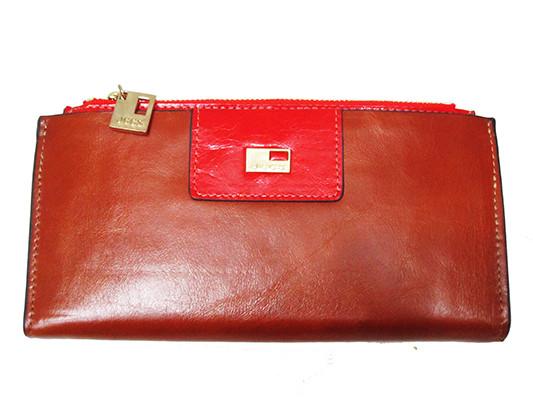 a4040c33c429 Женский кошелек JCCS 3107 коричневый с красным из натуральной кожи со  съемной кредитницей внутри красный