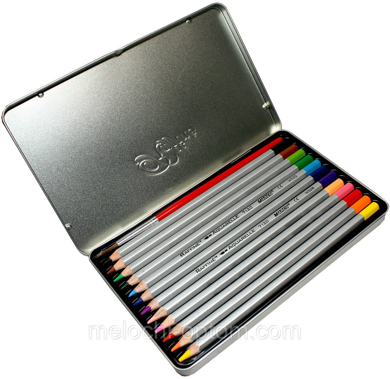 Карандаши цветные в металлическом пенале Marco Raffaine (12 цветов) + Подарок Кисть для рисования