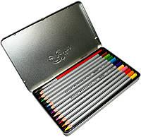 Карандаши цветные в металлическом пенале Marco Raffaine (12 цветов) + Подарок Кисть для рисования , фото 1