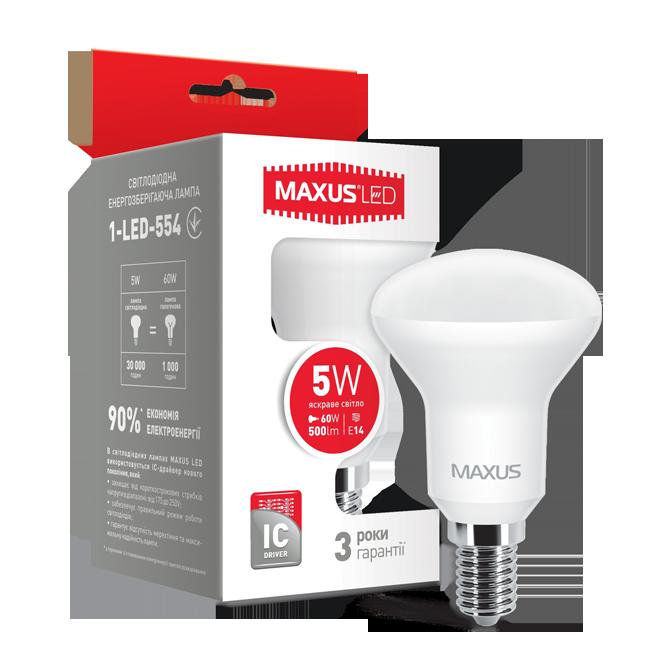 Лампа MAXUS R50 5W 4100K 220V E14 Яркий свет