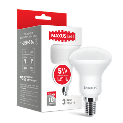 Лампа MAXUS R50 5W 4100K 220V E14 Яркий свет, фото 2