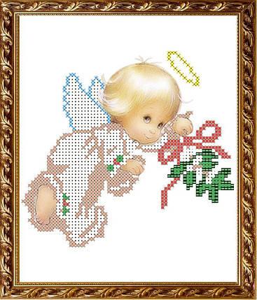 """Рисунок на ткани для вышивания бисером """" Ангелочек с веточкой"""", фото 2"""