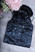 Демисезонная детская жилетка КАРМАНЫ для девочки 2-6 лет,темно-синего цвета