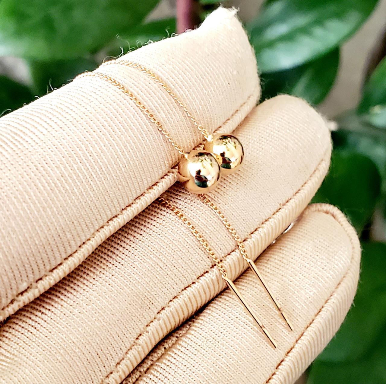 Сережки-протяжки зкульками 6мм Xuping довжина 8.5см иедичне золото с836