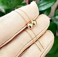 Серьги-протяжи с шариками 6мм Xuping длина 8.5см медицинское золото позолота 18К с836, фото 1