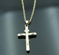 Престижные кулоны кресты с позолотой и цепочкой 40см. Элитная бижутерия FJ Fallon. 2