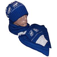 Вязаная шапка - носок, вязаный шарф - петля и митенки c норвежскими орнаментами