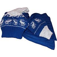 Вязаная шапка, вязаный шарф-петля и митенки c норвежскими орнаментами