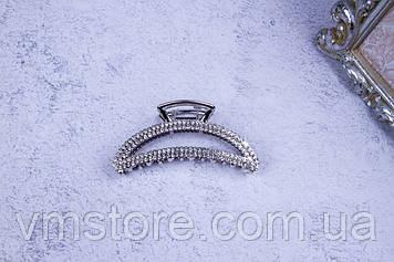 Крабик металлический полумесяц серебро, краб со стразами, 7,5 см
