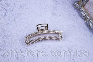 Крабик металлический прямоугольный золото, краб со стразами, 7,5 см