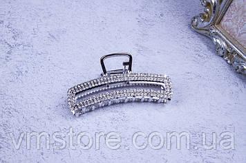 Крабик металлический прямоугольный серебро, краб со стразами, 7,5 см