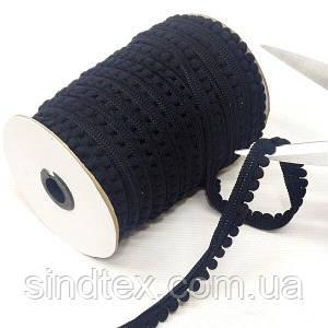 1 метр, Тесьма с помпонами 14мм (помпоны Ø6мм), черная (СИНДТЕКС-1404)